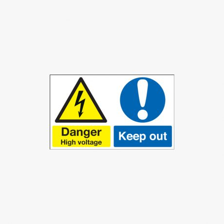 300x500mm Danger High Voltage Keep Out Self Adhesive Plastic Signs