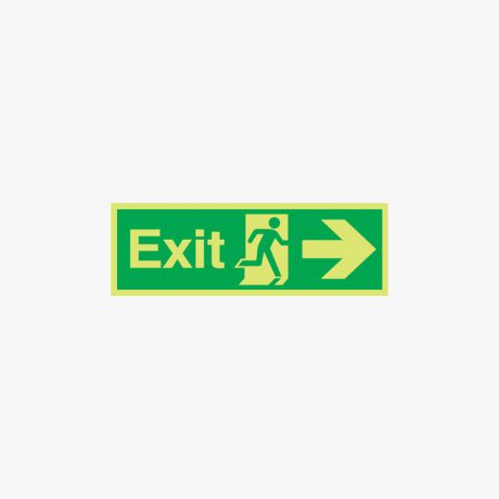 150x450mm Night Glow Luminescent Exit Arrow Right Plastic Signs