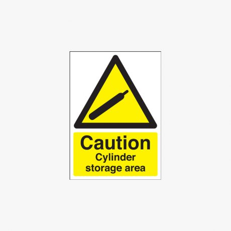 350x250mm Caution Cylinder Storage Area Self Adhesive Plastic Signs