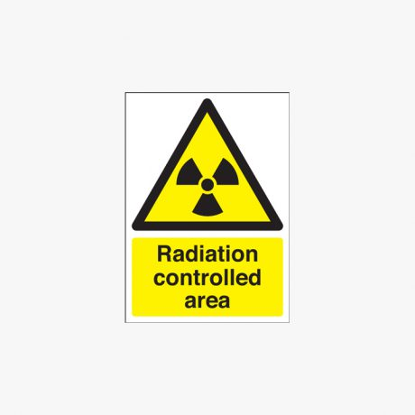 350x250mm Radiation Controlled Area Self Adhesive Plastic Signs