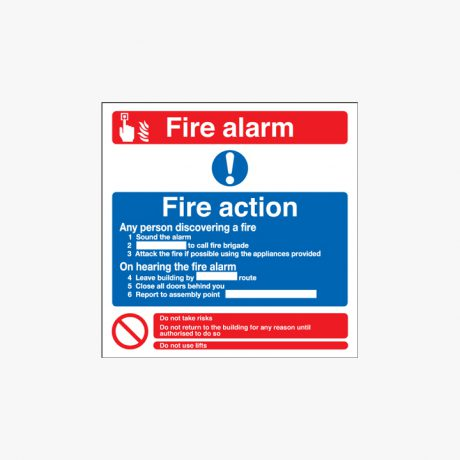 Fire Alarm Fire Action Any Self Adhesive Plastic Signs 200 mm x 200 mm