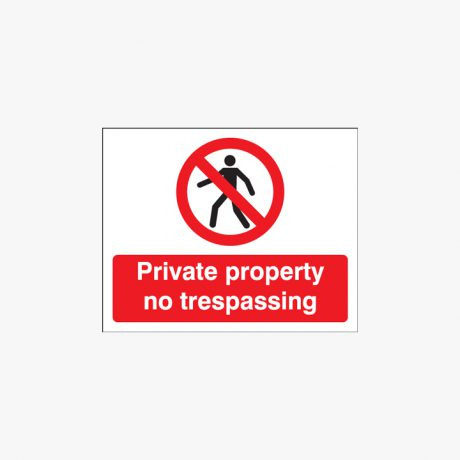200x250mm Private Property No Trespassing Plastic Signs