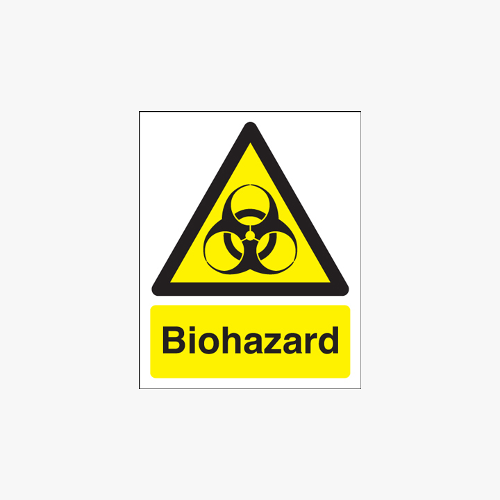 Biohazard Self Adhesive Plastic Signs 200 mm x 250 mm