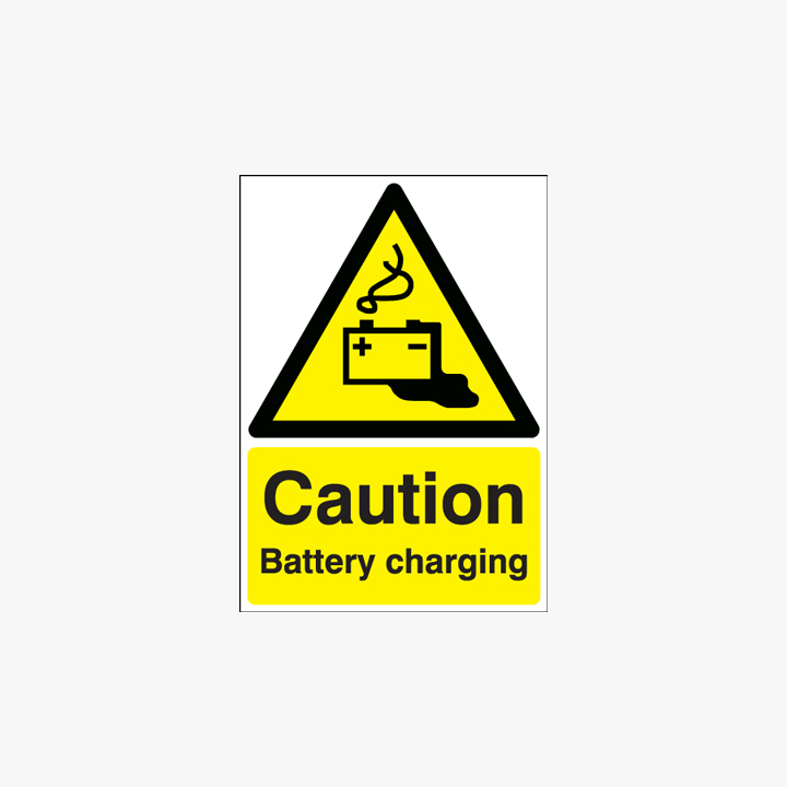 A1 Caution Battery Charging Self Adhesive Plastic Signs