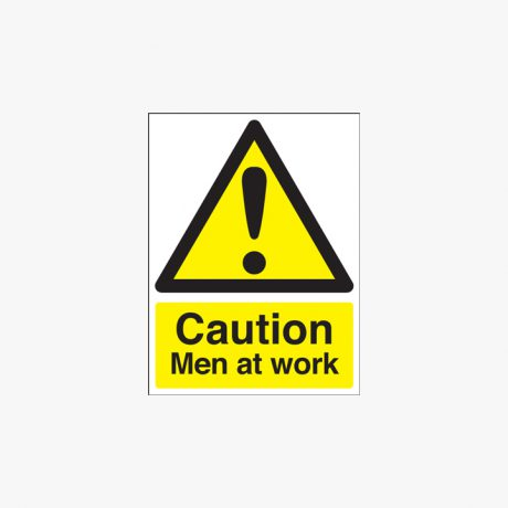400x300mm Caution Men At Work Self Adhesive Plastic Signs