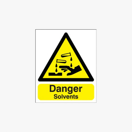 300x250mm Danger Solvents Plastic Signs