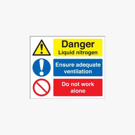 250x350mm Danger Liquid Nitrogen Ensure Plastic Signs