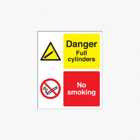 300x250mm Danger Full Cylinders No Smoking Self Adhesive Plastic Signs