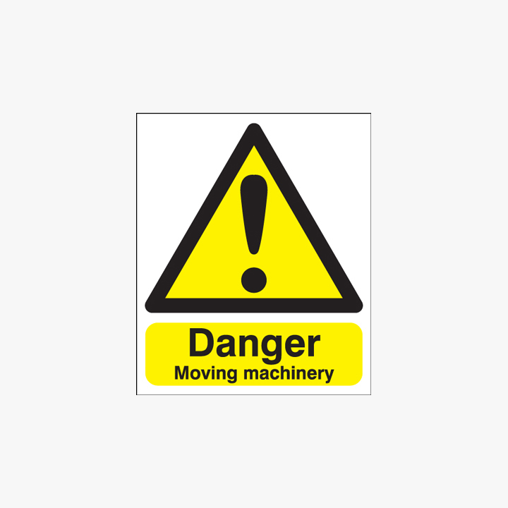 300x250mm Danger Moving Machinery Self Adhesive Plastic Signs