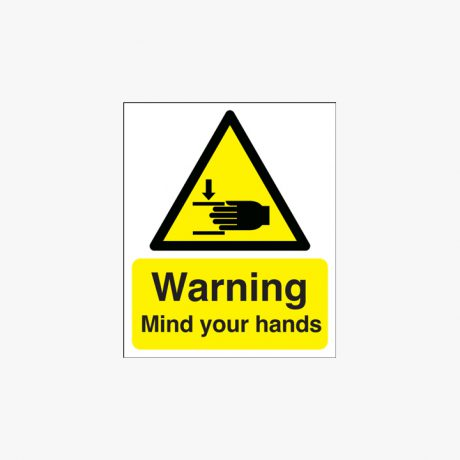 300x250mm Warning Mind Your Hands Self Adhesive Plastic Signs
