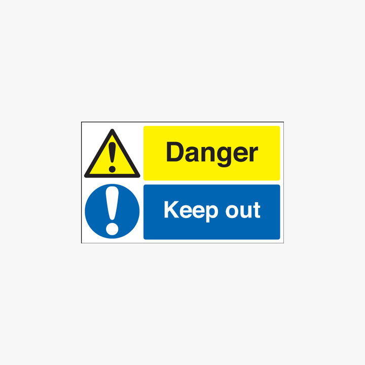 300x500mm Danger Keep Out Self Adhesive Plastic Signs