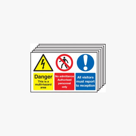 300x500mm Danger This Is A Multi-Hazard Multipack 6 Self Adhesive Plastic Signs