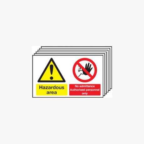 300x500mm Hazardous Area No Admittance Multipack 6 Self Adhesive Plastic Signs