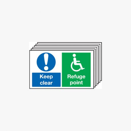 300x500mm Keep Clear Refuge Point Multipack 6 Plastic Signs