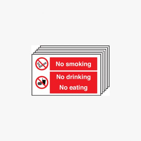 300x500mm No Smoking No Drinking Multipack 6 Plastic Signs