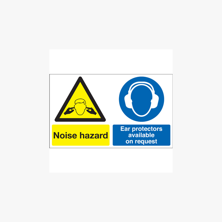 300x500mm Noise Hazard Ear Protectors Self Adhesive Plastic Signs