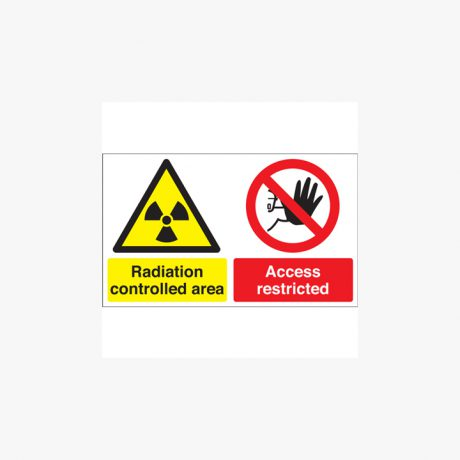 300x500mm Radiation Controlled Area Access Self Adhesive Plastic Signs