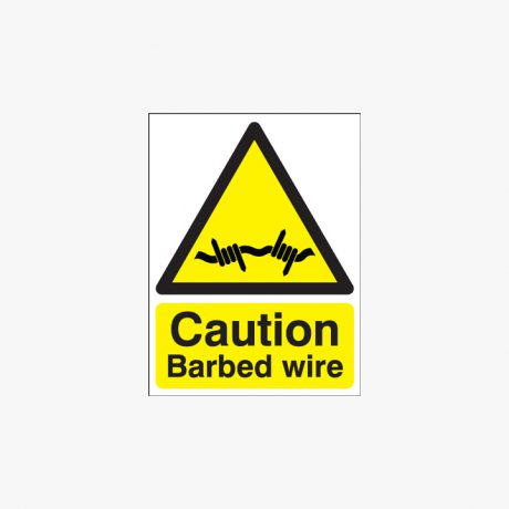 400x300mm Caution Barbed Wire Self Adhesive Plastic Signs