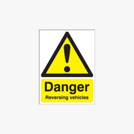 400x300mm Danger Reversing Vehicles Self Adhesive Plastic Signs