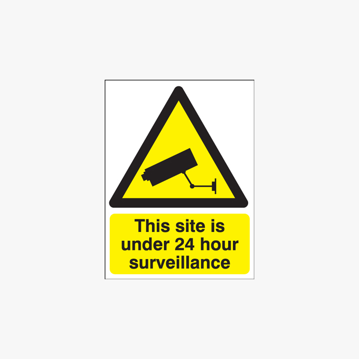 800x600mm This Site Is Under 24 Hour CCTV Self Adhesive Plastic Signs
