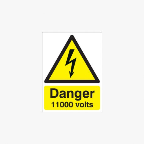 175x125mm Danger 11000 Volts Self Adhesive Plastic Signs
