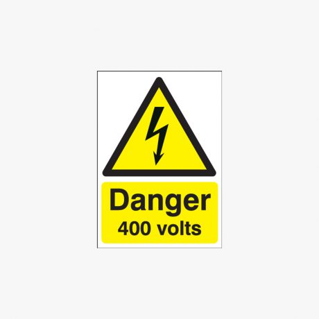 A1 Danger 400 Volts Self Adhesive Plastic Signs
