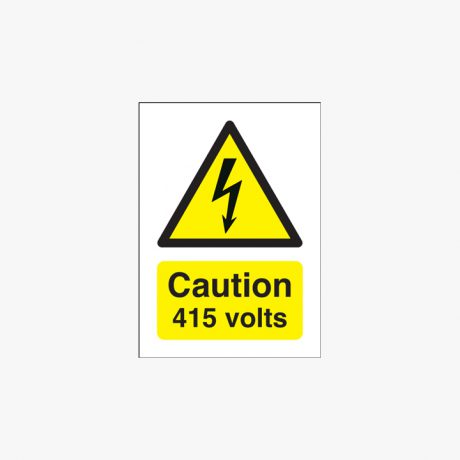 175x125mm Danger 415 Volts Self Adhesive Plastic Signs