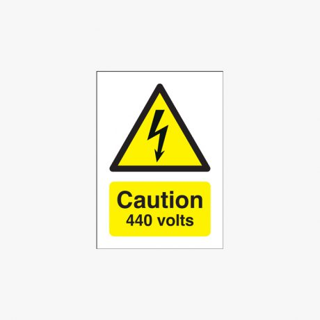 175x125mm Danger 440 Volts Self Adhesive Plastic Signs