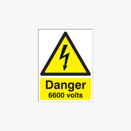 175x125mm Danger 6600 Volts Self Adhesive Plastic Signs