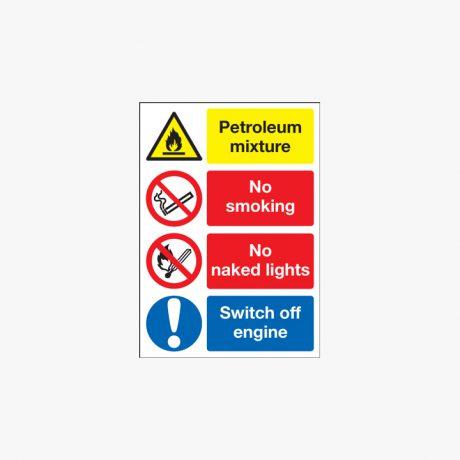 600x450mm Petroleum Mixture No Smoking Plastic Signs
