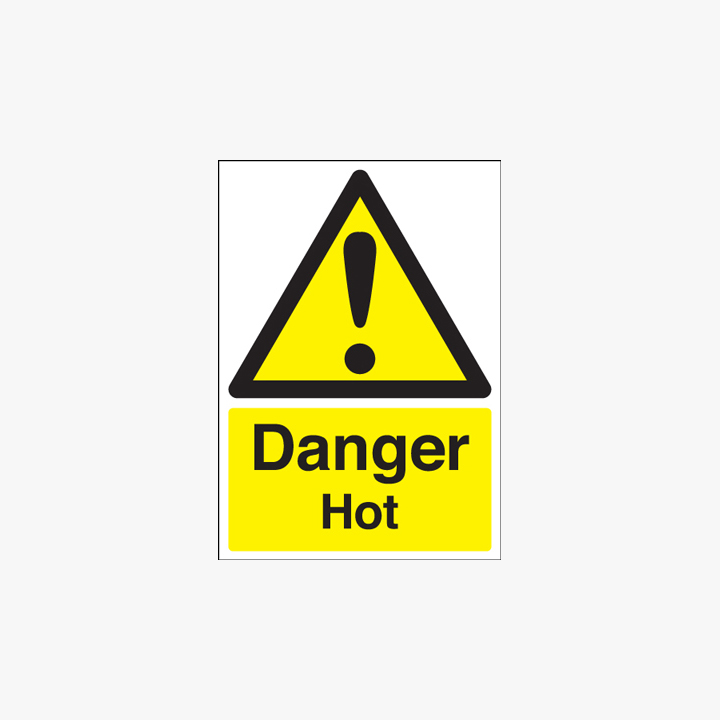A1 Danger Hot Self Adhesive Plastic Signs