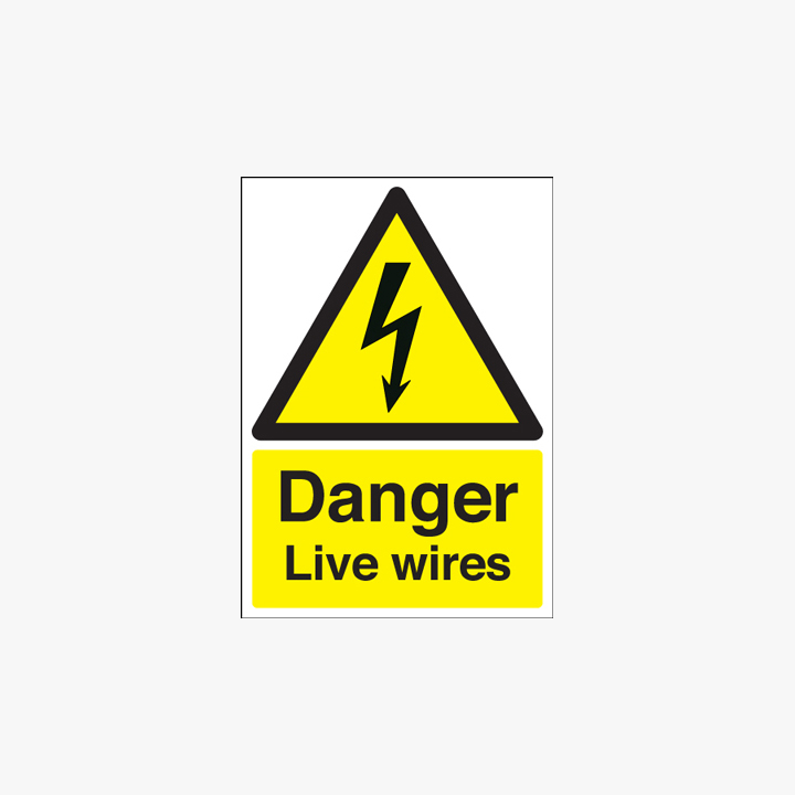 A1 Danger Live Wires Self Adhesive Plastic Signs