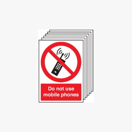 A4 Do Not Use Mobile Phones Multipack 6 Self Adhesive Plastic Signs