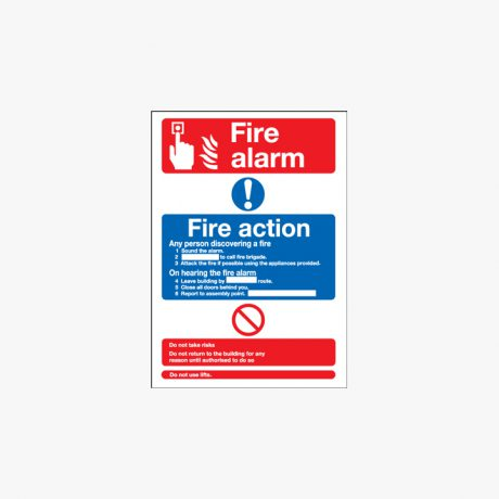 A3 Fire Alarm Fire Action Any Person Self Adhesive Plastic Signs