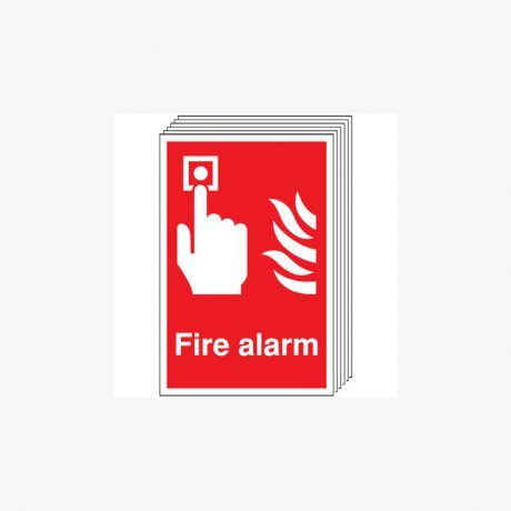 A4 Fire Alarm Multipack 6 Self Adhesive Plastic Signs