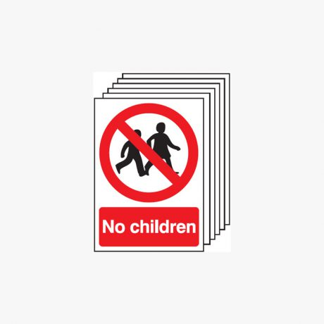 A4 No Children Multipack 6 Self Adhesive Plastic Signs