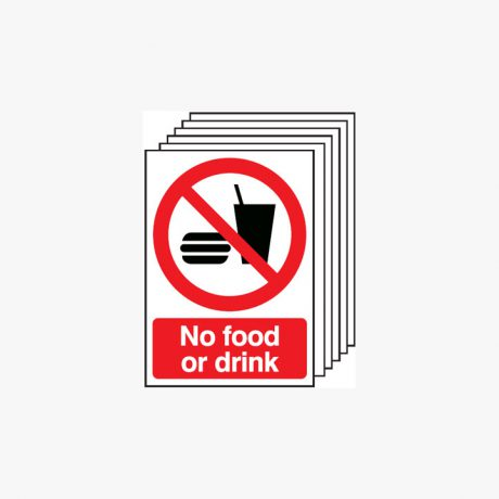 A4 No Food Or Drink Multipack 6 Self Adhesive Plastic igns