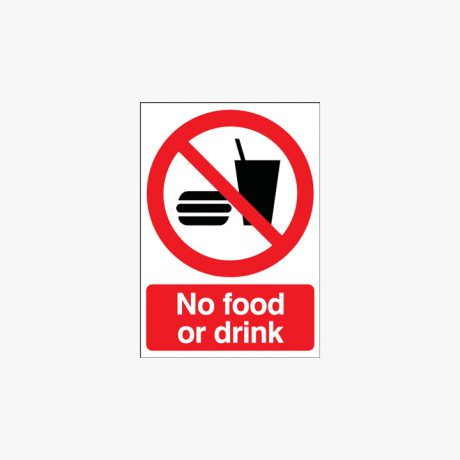 A1 No Food Or Drink Self Adhesive Plastic Signs