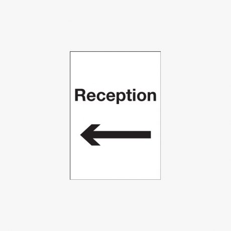 A1 Reception Arrow Left Self Adhesive Plastic Signs