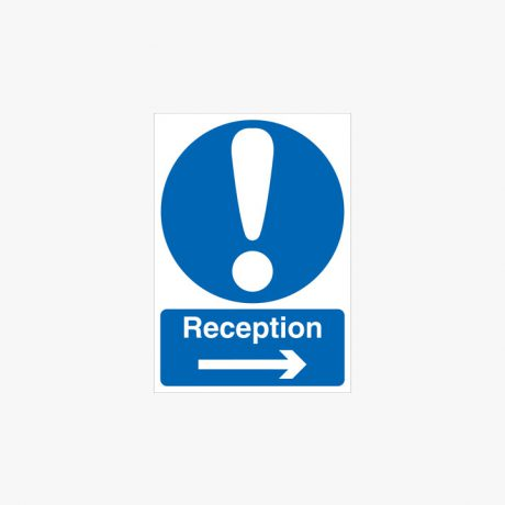 A1 Reception Arrow Right Self Adhesive Plastic Signs