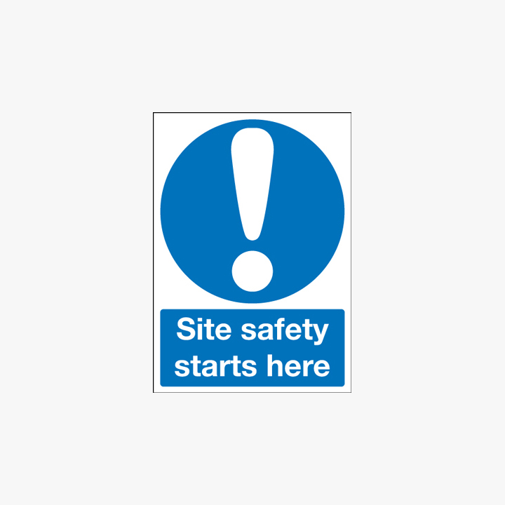 A1 Site Safety Starts Here Self Adhesive Plastic Signs