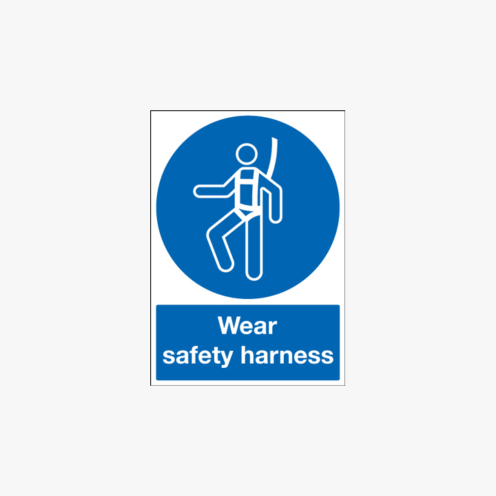 A1 Wear Safety Harness Self Adhesive Plastic Signs