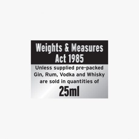 Aluminium 150x200mm Weights & Measures Act 1985 Signs