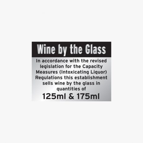 Aluminium 150x200mm Wine By The Glass 125 & 175Ml Signs