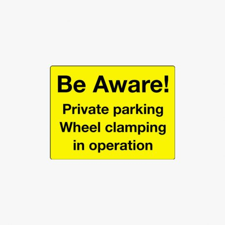 Aluminium 450x600mm Be Aware Private Parking Post Fitting Signs