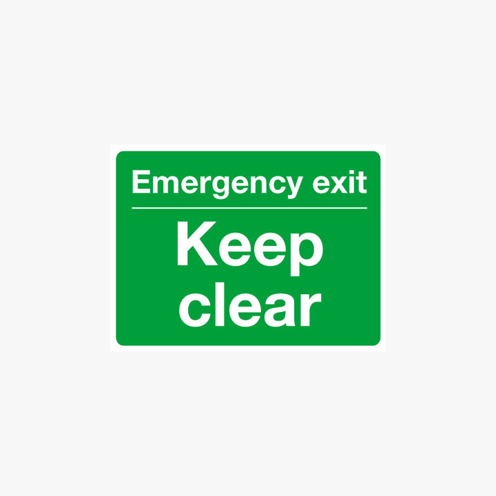 Aluminium 450x600mm Emergency Exit Keep Clear Signs Post Fitting Signs