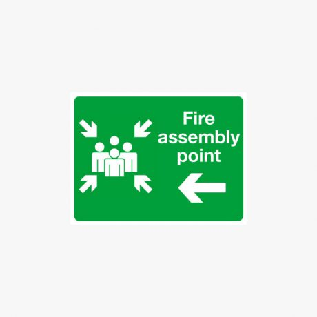 Aluminium 450x600mm Fire Assembly Point Left Post Fitting Signs