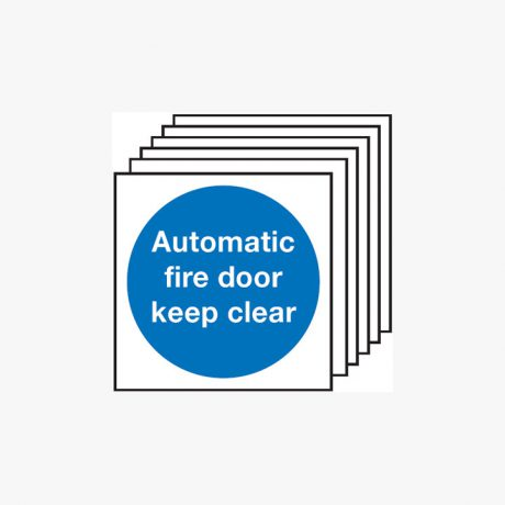 Automatic Fire Door Keep Clear Multipack 6 Plastic 200x200 Signs