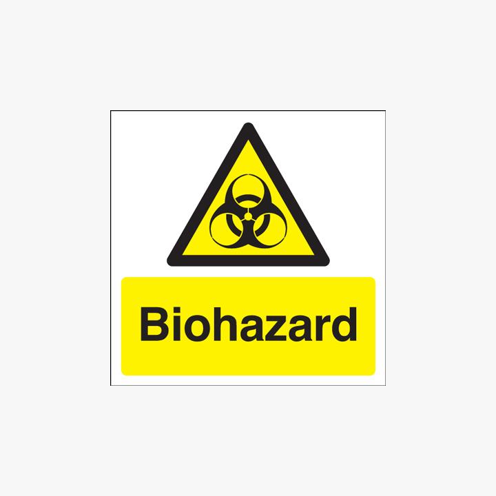 Biohazard Self Adhesive Plastic Signs 125 mm x 125 mm