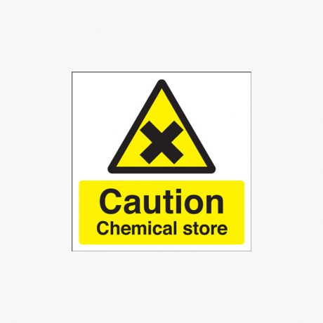 Caution Chemical Store Self Adhesive Plastic Signs 125 mm x 125 mm